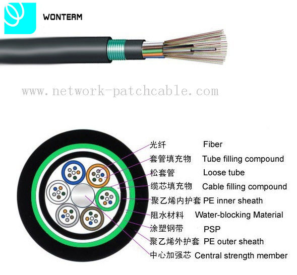 Outdoor 2~288 core Optical Fiber Cable GYTY53 Loose Tube Stranding