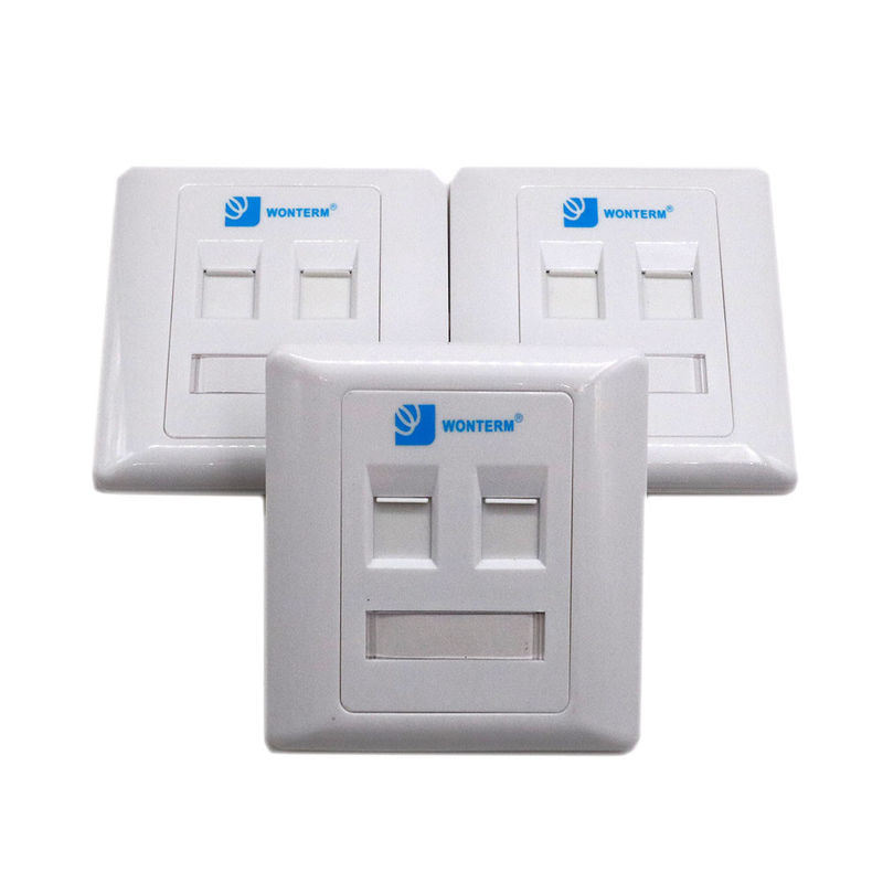 White Ethernet 2 Port Keystone Faceplate Cat6 Wall Plate With PC / ABS Housing